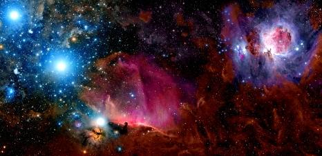 Orion's Belt (Mintaka, Alnilam, and Alnitak) and nebulae.