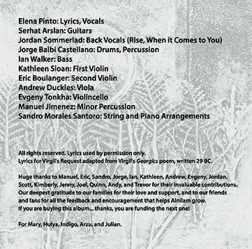 Credits and thanks inside Indigo Sky CD