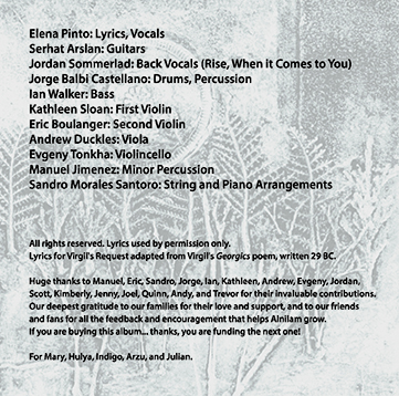 Credits and thanks inside Indigo Sky CD